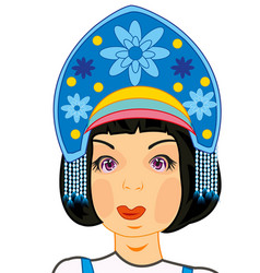 Head of the girl in woman s headdress vector