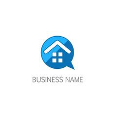 house talk bubble realty logo vector image