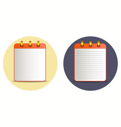 icon of notebook in two variations vector image vector image