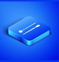 Isometric drum sticks icon isolated on blue vector