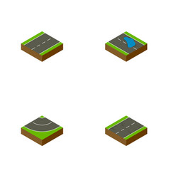 Isometric road set of driveway cracks plash and vector