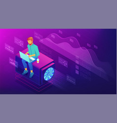 Isometric web developer concept vector