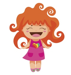 Kawaii cheerful red-curly baby-grl vector