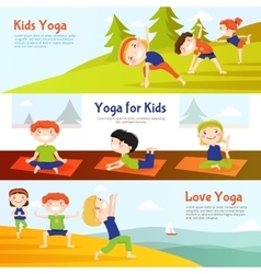 Kis yoga horizontal banners set vector