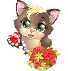 Kitten and flower vector