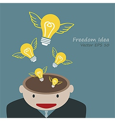 Lamp of idea concept out of head businessman vector image