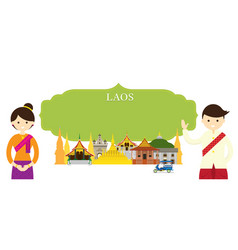 laos landmarks people in traditional clothing vector image