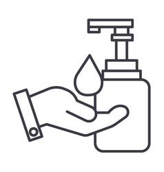 liquid soap with hand line icon sign vector image