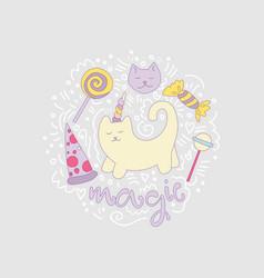 magical cat cartoon fun among vector image