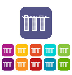 Marina bay sands hotel singapore icons set vector