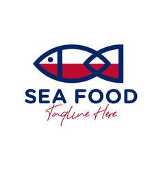 Marine fish outline logo design vector