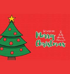 merry christmas pine tree decoration cartoon card vector image
