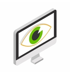 Monitor with eye isometric 3d icon vector