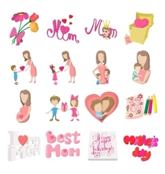 Mother Day cartoon icons vector