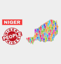 Niger map population people and unclean watermark vector