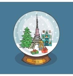 Paris Christmas Snow globeDoodle cityNoel vector image