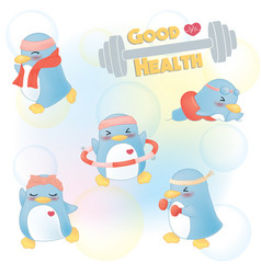 penguin-exercise-fitness vector image
