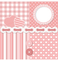 Pink scrapbook set vector