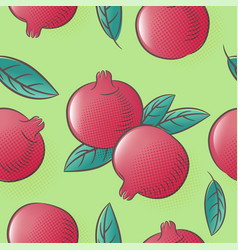 Pomegranates seamless pattern ripe fruits leaves vector