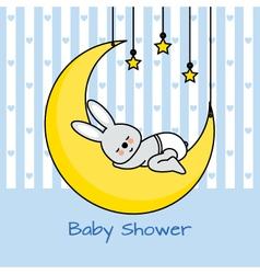 Rabbit sleeping on the moon vector