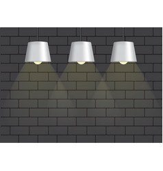 realistic black lamp and lighting on the wall vector image