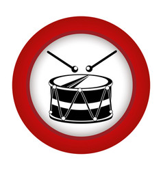 red circle with drum and drum stick vector image vector image