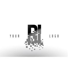 Ri r i pixel letter logo with digital shattered vector