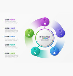 Rotating circle chart template with 5 options vector