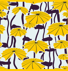 seamless background yellow lotus in pond vector image