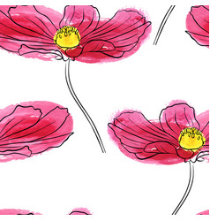 seamless pattern with flower of daisy vector image