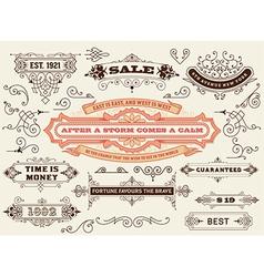 set calligraphic design elements labels banners vector image