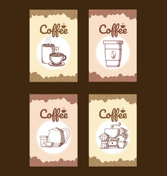 Set of coffee cards vector
