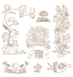 Set of decorative Autumn branches vector