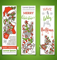 Set of vertical cartoon Christmas banners vector