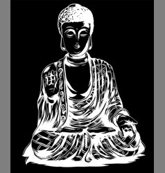 Sketch with buddha drawing by vector