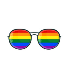 sunglasses with lgbt gay rainbow vector image