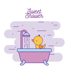 sweet shower bathtub and duck wash vector image