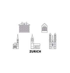 Switzerland zurich line travel skyline set vector