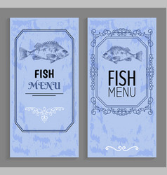 template of fish menu sample with vintage frame vector image