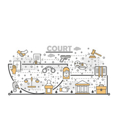 thin line art court poster banner template vector image