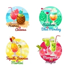 Tropical Cocktails Flat vector