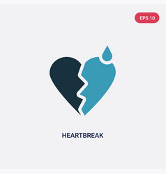 two color heartbreak icon from shapes concept vector image