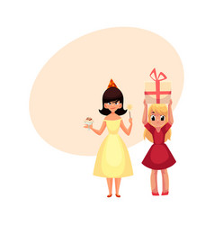 two girls having fun at birthday party vector image vector image