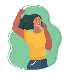 upset woman crying on phone vector image