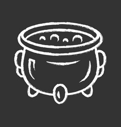 Witch cauldron chalk icon brew potion wicked vector