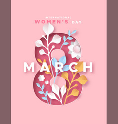 Womens day 8 march pink papercut nature card vector