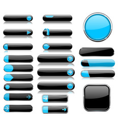 black and blue menu buttons interface elements vector image vector image
