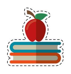 cartoon apple book school symbol vector image vector image