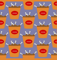 chicken bucket food pattern vector image vector image