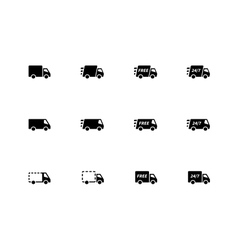 Delivery Trucks icons on white background vector image vector image